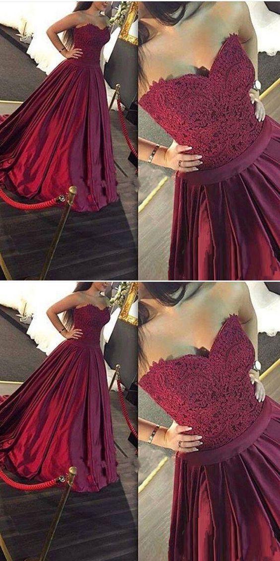 Vestido Tinto Para Fiesta Ropa Prom Dresses Sweetheart