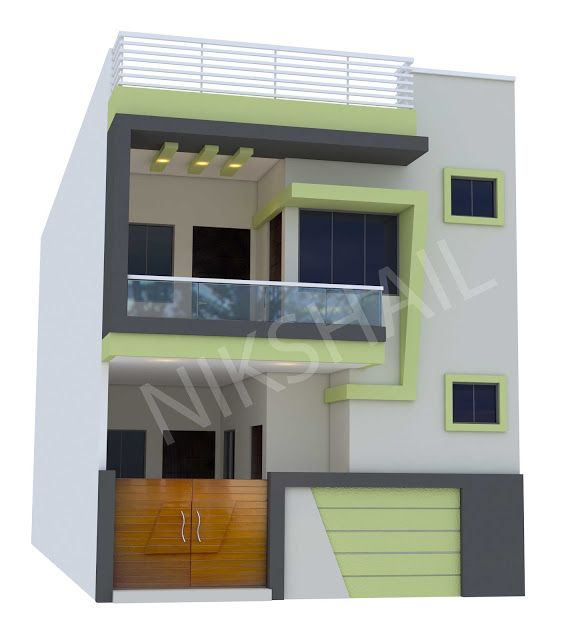 20x50 House Plan With 3d Elevation Option C By Nikshail 20x40 House Plans House Front Design House Layout Plans