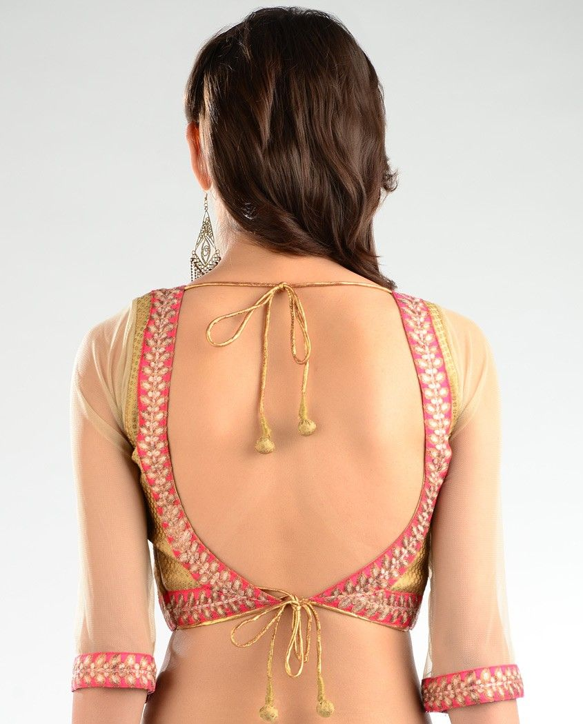 Golden saree blouse design beige golden brocade blouse  exclusively in  saree blouse