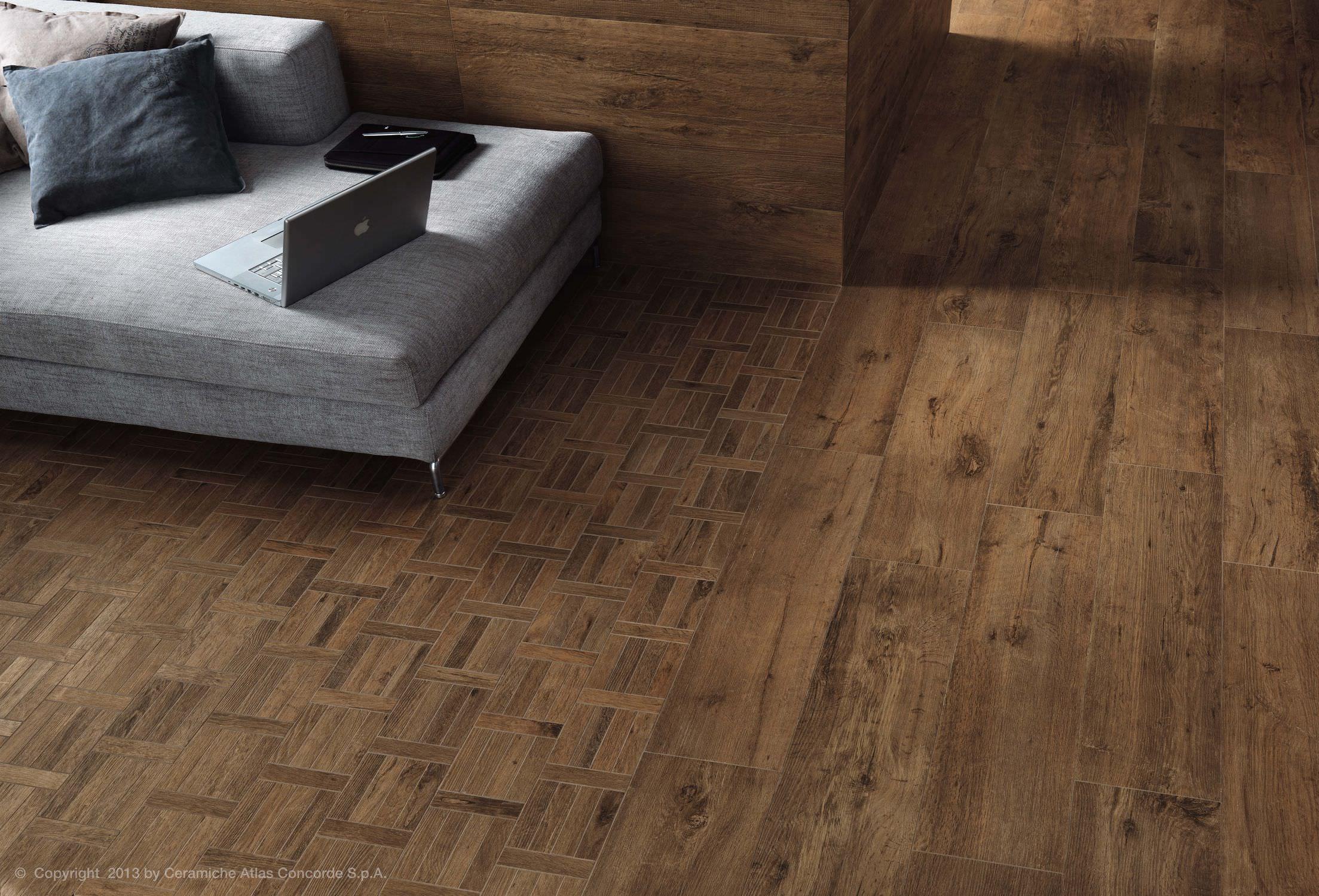 Elegant Wood Look Tile Floors Family Room Design With White