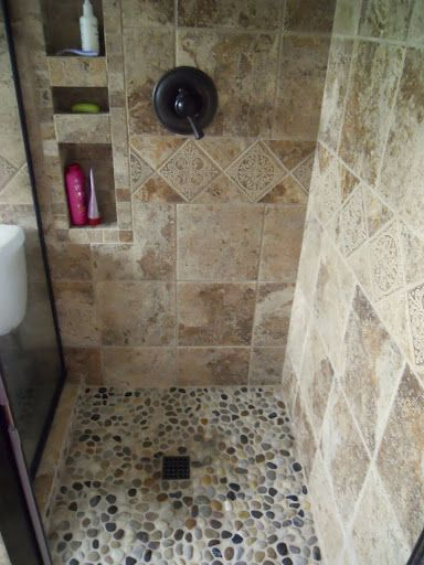 River rock shower tile uh huh ideas for master bath for Stone floor renovation