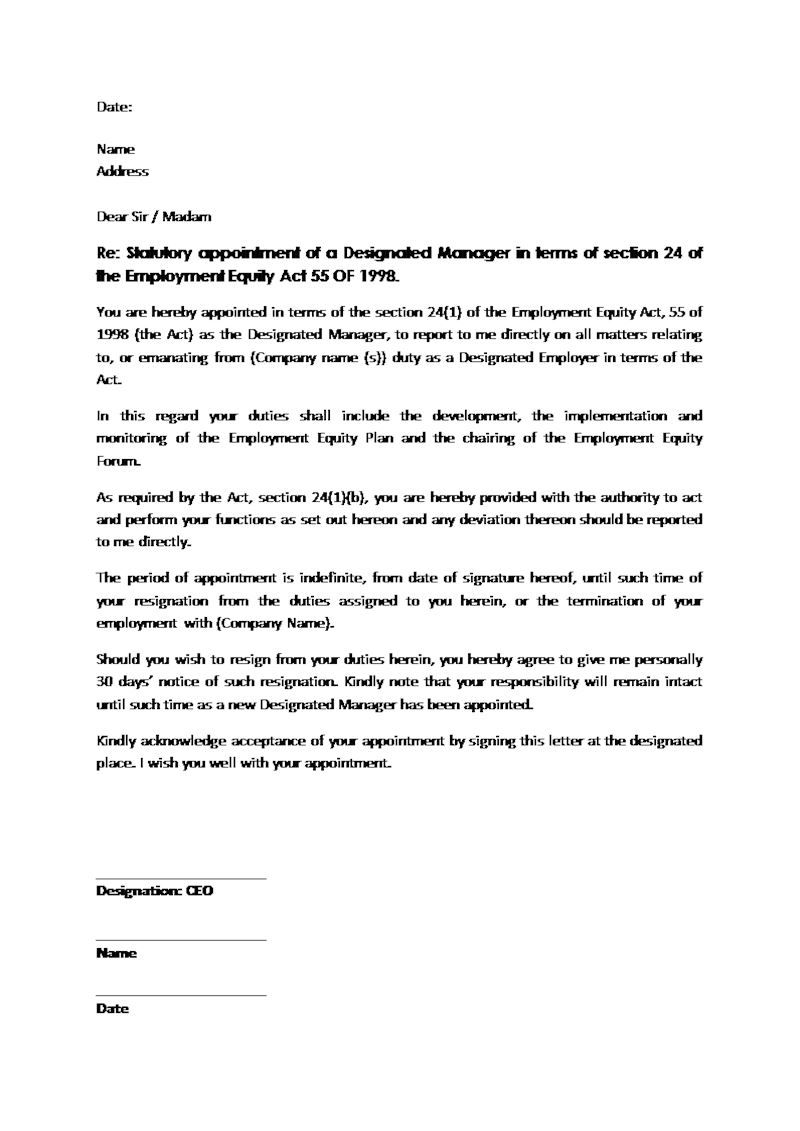 Appointment Letter Designated Manager Document Labour Law Sample