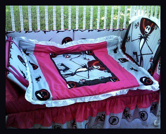 Custom Made To Order New Pink Nightmare Before Christmas Crib Bedding Set With Jack Zero Halloween Baby Shower Baby Halloween Baby Birthday Themes