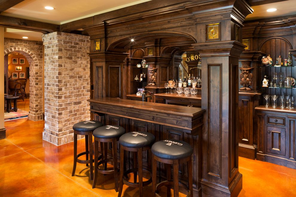 Splashy Corner Liquor Cabinet In Home Bar Traditional With Next To Brick Staining Alongside Veneer And Mini