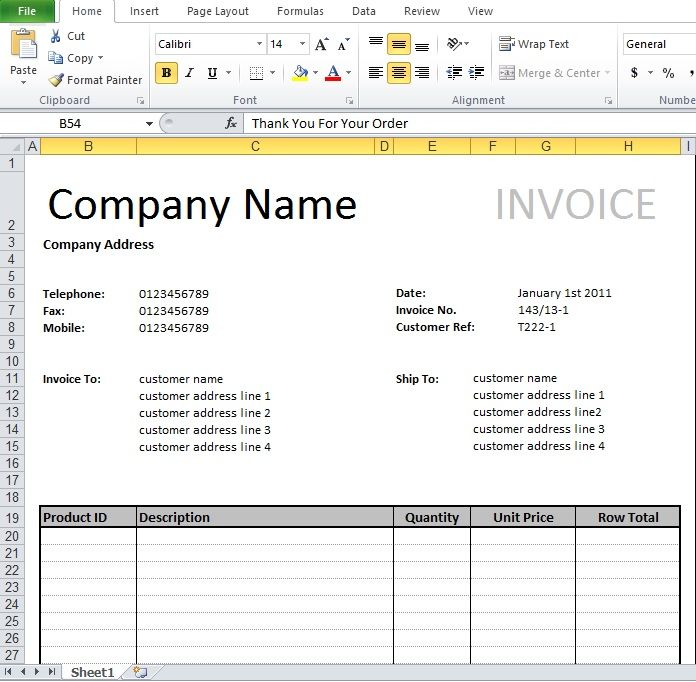 Tally Invoice Format Excel Download  Invoice Template