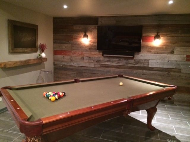 Reclaimed Wood Accent Wall Game Room