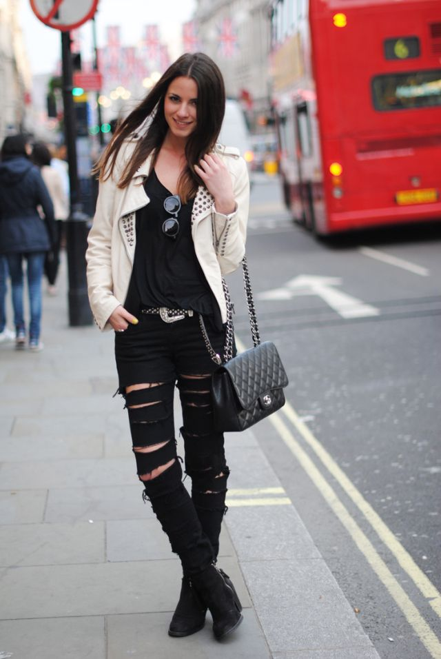 ripped pants, topshop boots, chanel bag, London