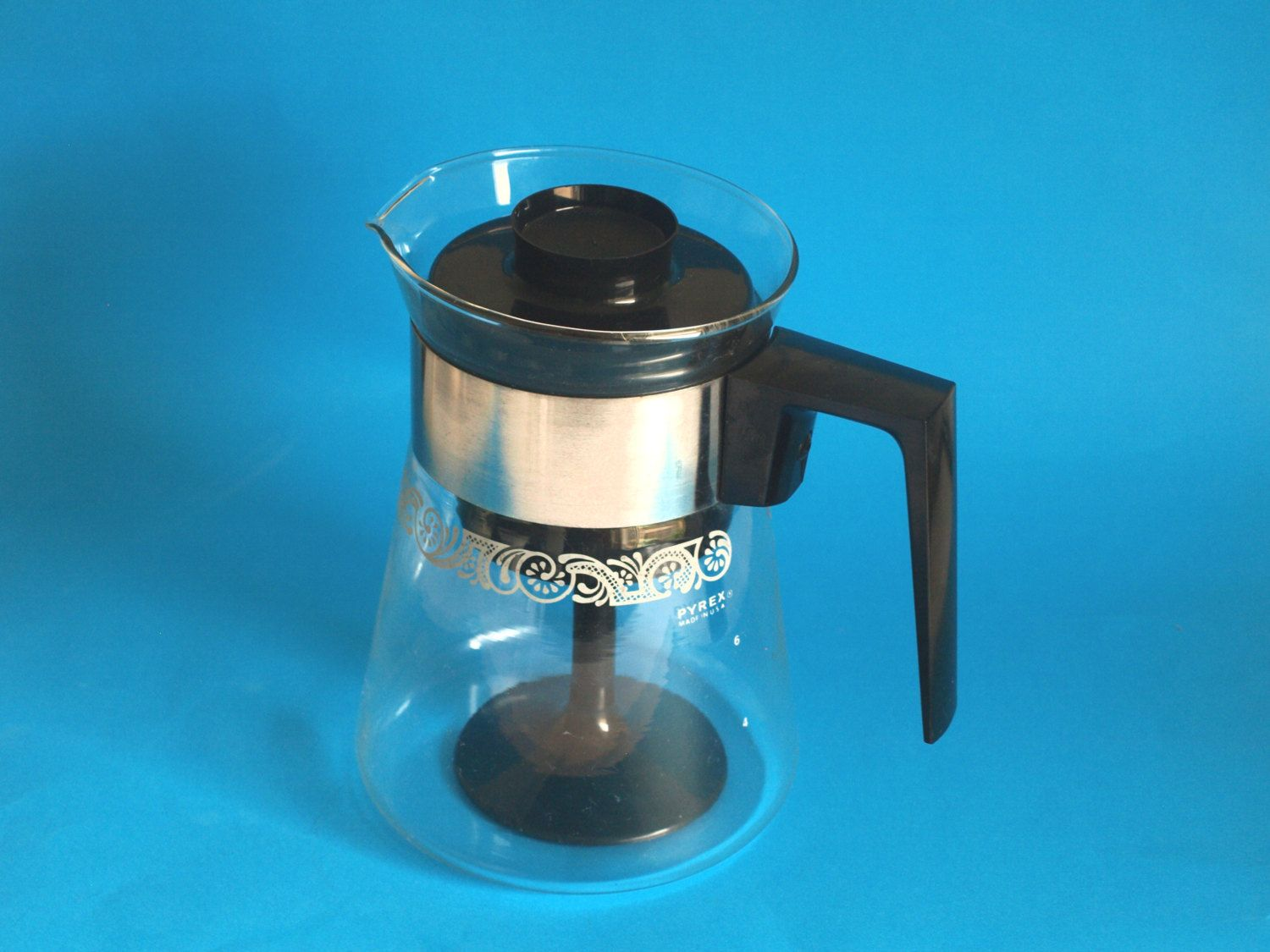 Vintage Retro Pyrex Coffee Percolator With White Abstract