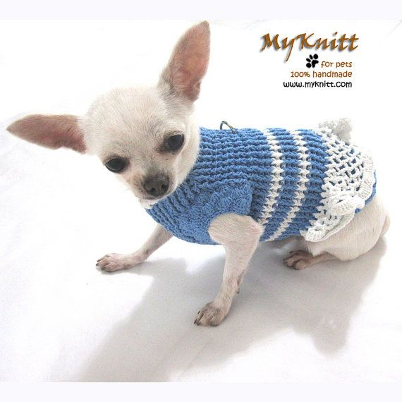 Pet Dress Harness For Dogs Cats Baby Blue Handmade Crochet Knit ...