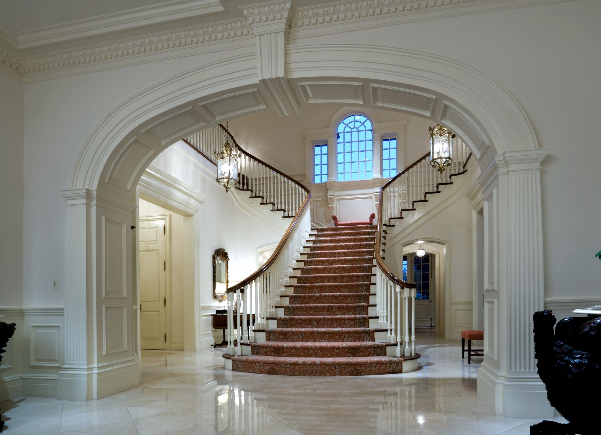 Best Dramatic Dual Sided Grand Staircase White Interiors Of A 400 x 300