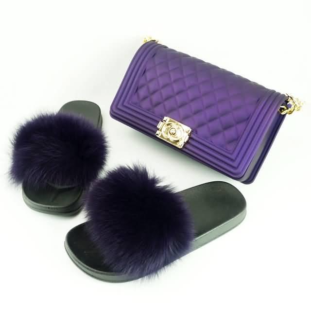 收藏到 fur slides with matched purse pinterest