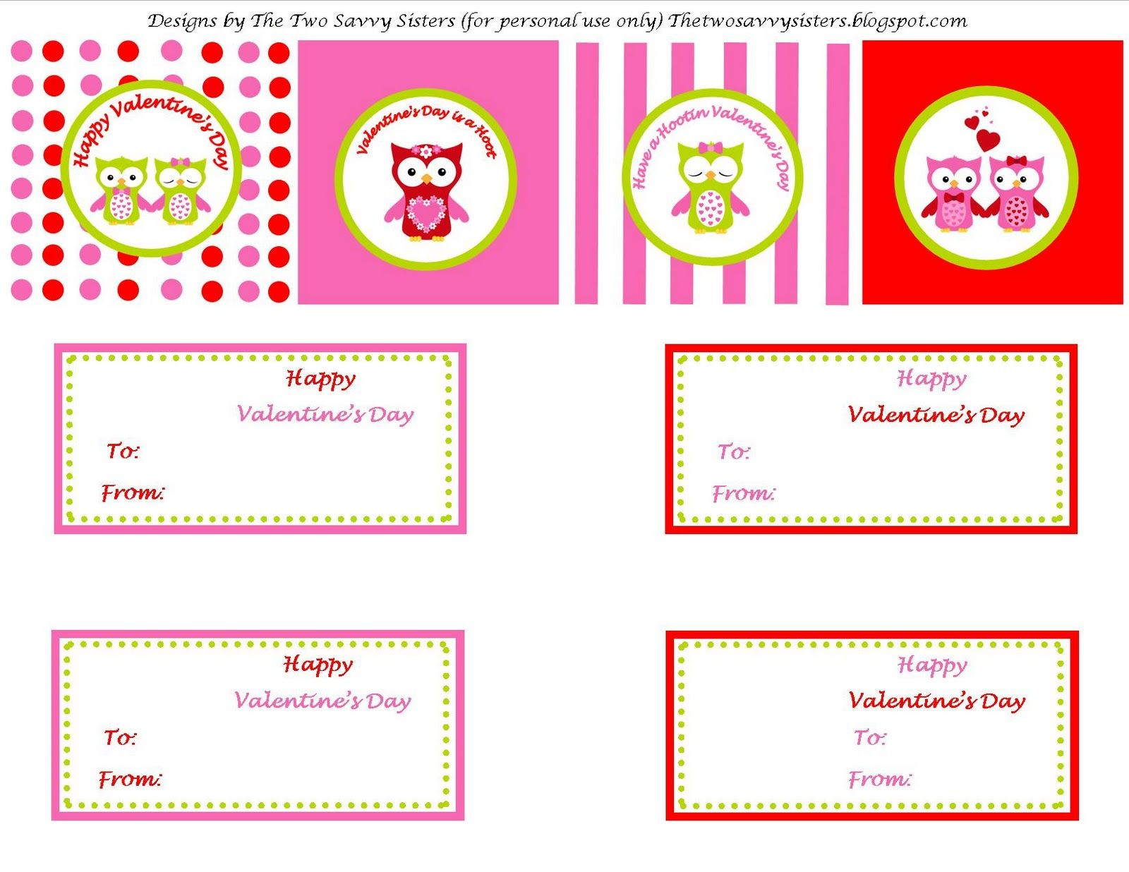 The Two Savvy Sisters Free Hootin Owl Valentine Printables