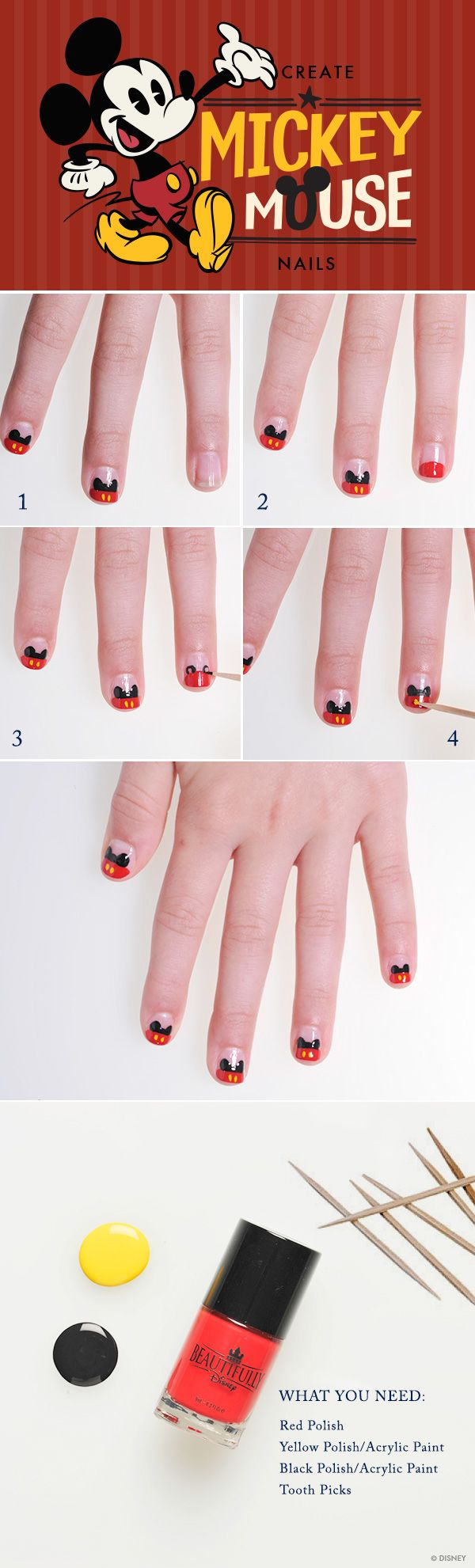DIY Mickey Mouse Nails #WaltDisneyWorld #MickeyMouse #nails #Disney ...
