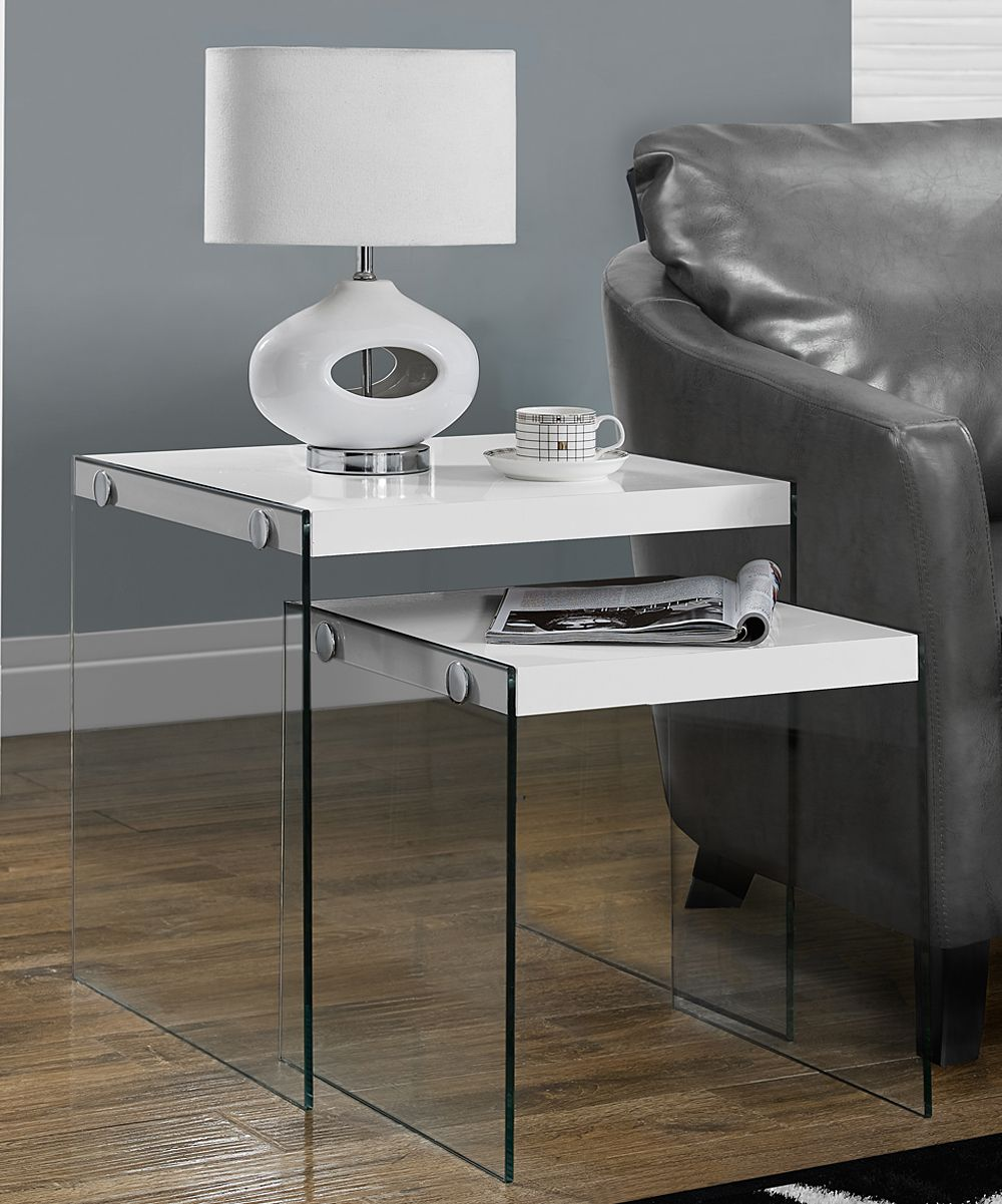 Glossy White TwoPiece Tempered Glass Nesting Table