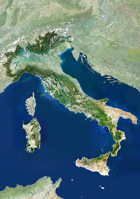 satellite map of italy Italy Satellite Image By Planetobserver Italy Photograph