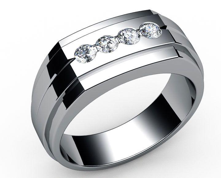 Four Stones Men S Ring In 18k White Gold Men Diamond Ring Rings For Men Fashion Rings
