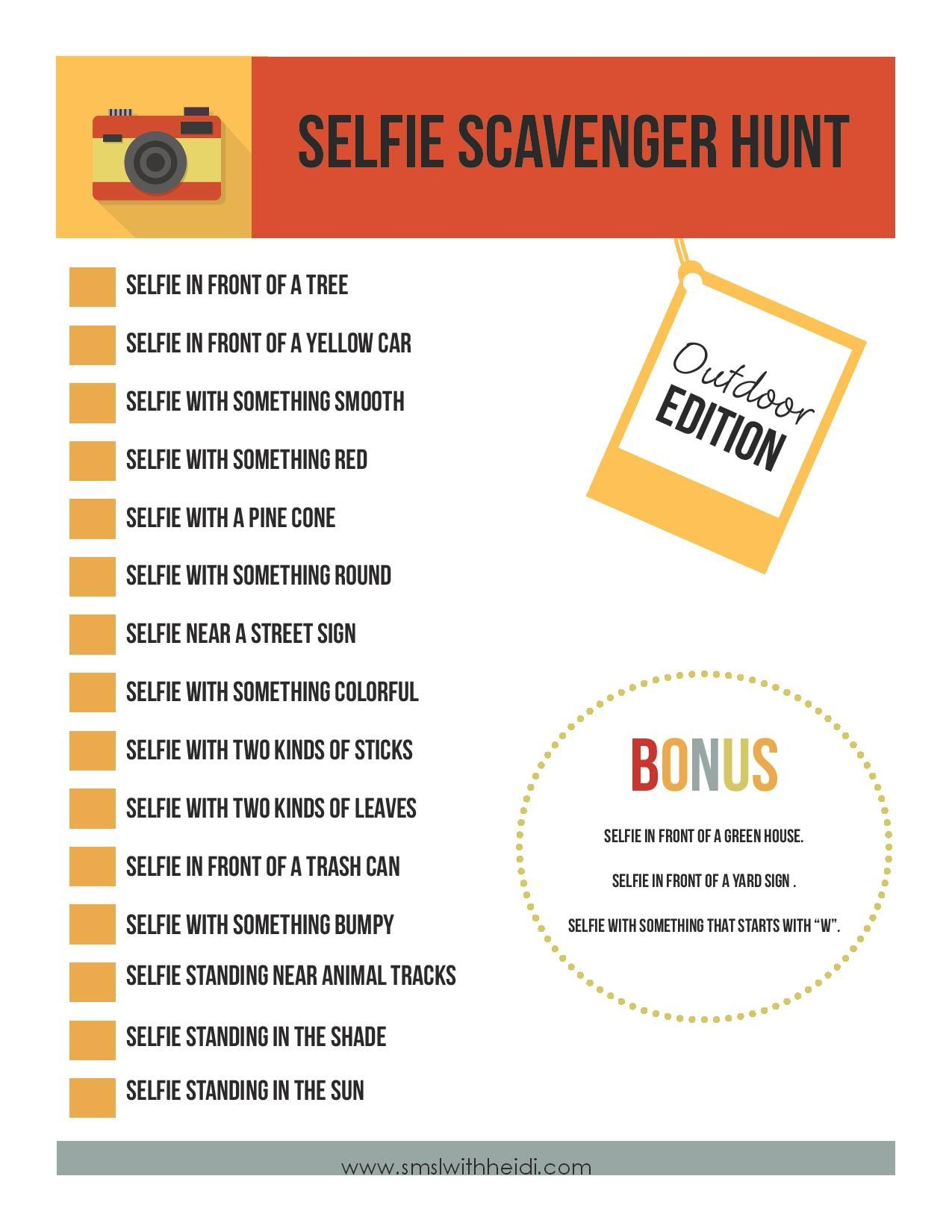 Selfie Scavenger Hunt | Pinterest | Youth, Gaming and Activities
