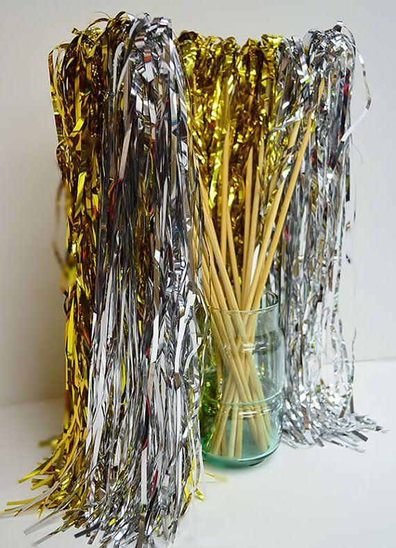 25 Glittery Tinsel Wedding Ribbon Wands with bell, send