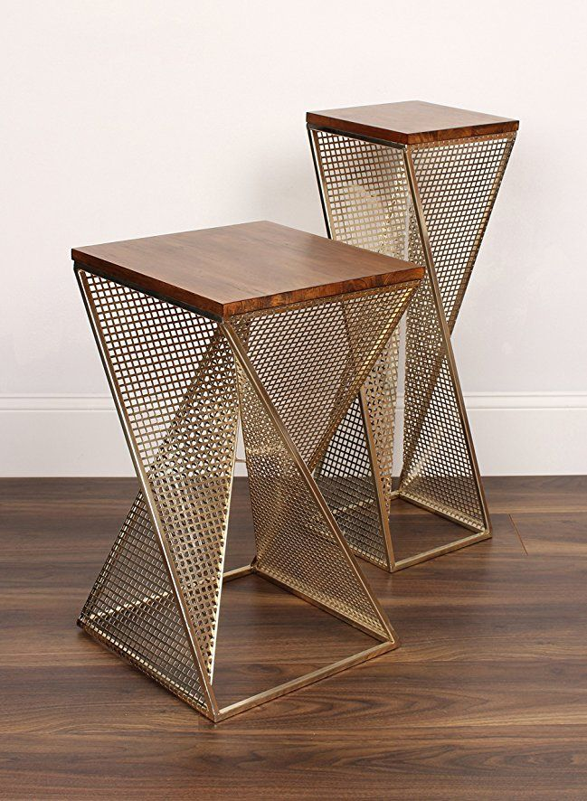 Amazon.com: Kate and Laurel Elita Walnut Wood and Metal Pedestal End ...