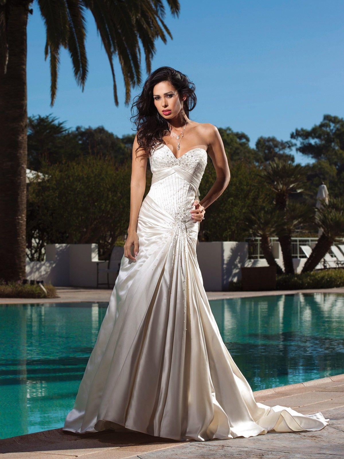 Dropped waist wedding dress  Sweetheart dropped waist satin wedding dress   Wedding