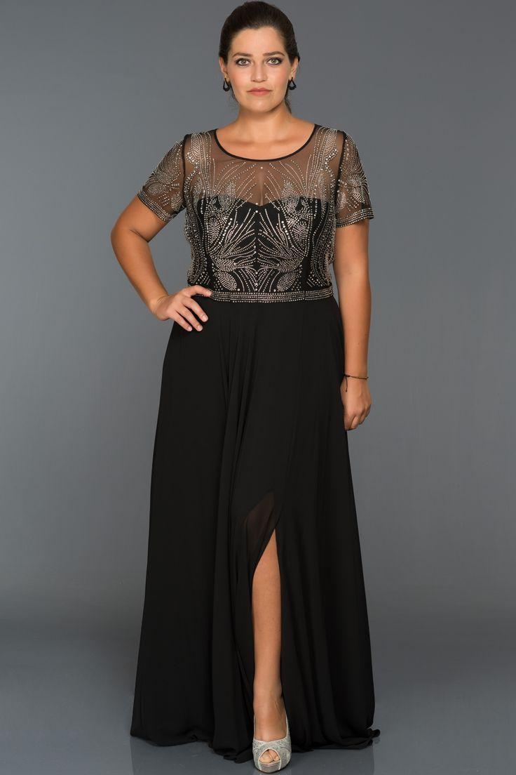 Yirtmacli Buyuk Beden Abiye S4481 Dekora Aksamustu Giysileri Elbise Modelleri Kiyafet
