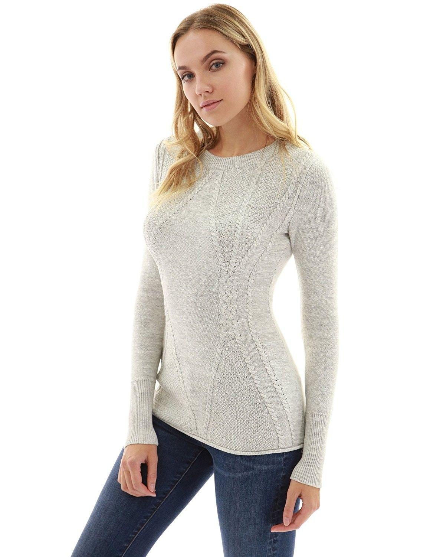 Women s Cotton Blend Crewneck Cable Knit Sweater - Heather Light ... 7e51032d4f