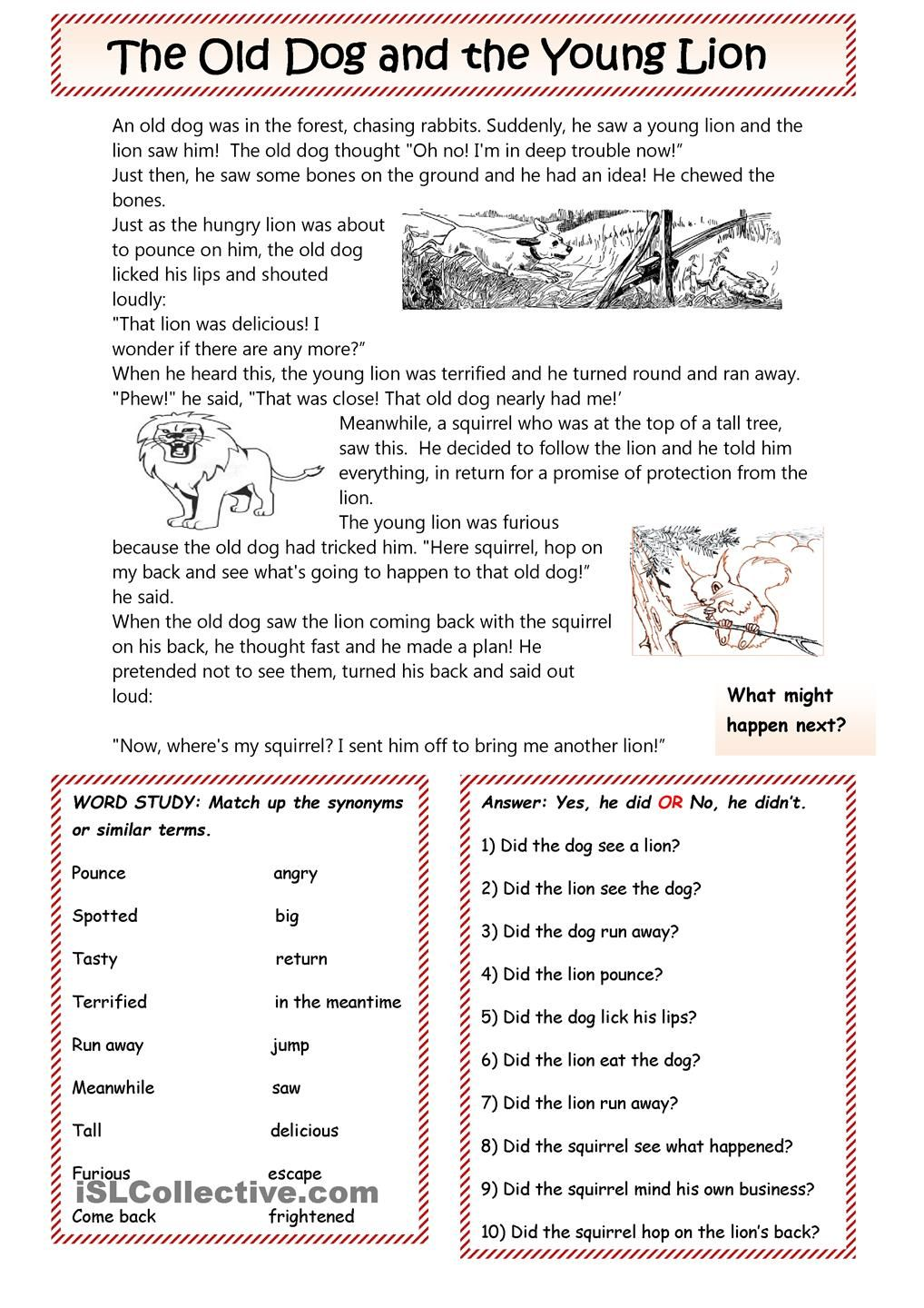 The Dog and the Lion: a fable. | Teaching | Pinterest | Englisch und ...