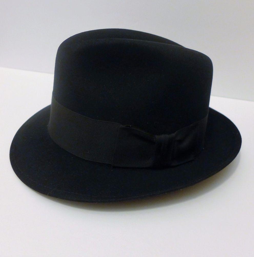 51d6fb83ca337 Royal Stetson Saxon Fur Felt Fedora Hat Black Size 7 56 Excellent Condition   Stetson  Fedora