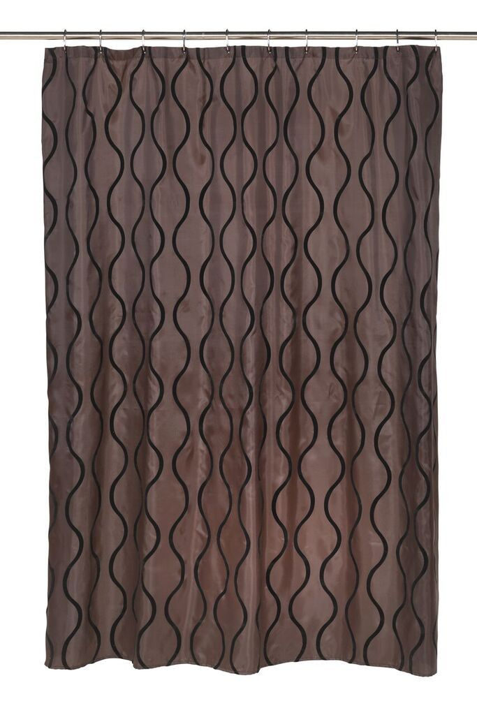 Wavy Vertical Lines Fabric Shower Curtain with Flocking, Brown ...