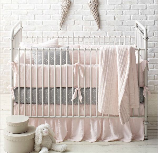 Frayed Voile Dotted Percale Nursery Bedding Collection By Rh Baby Child