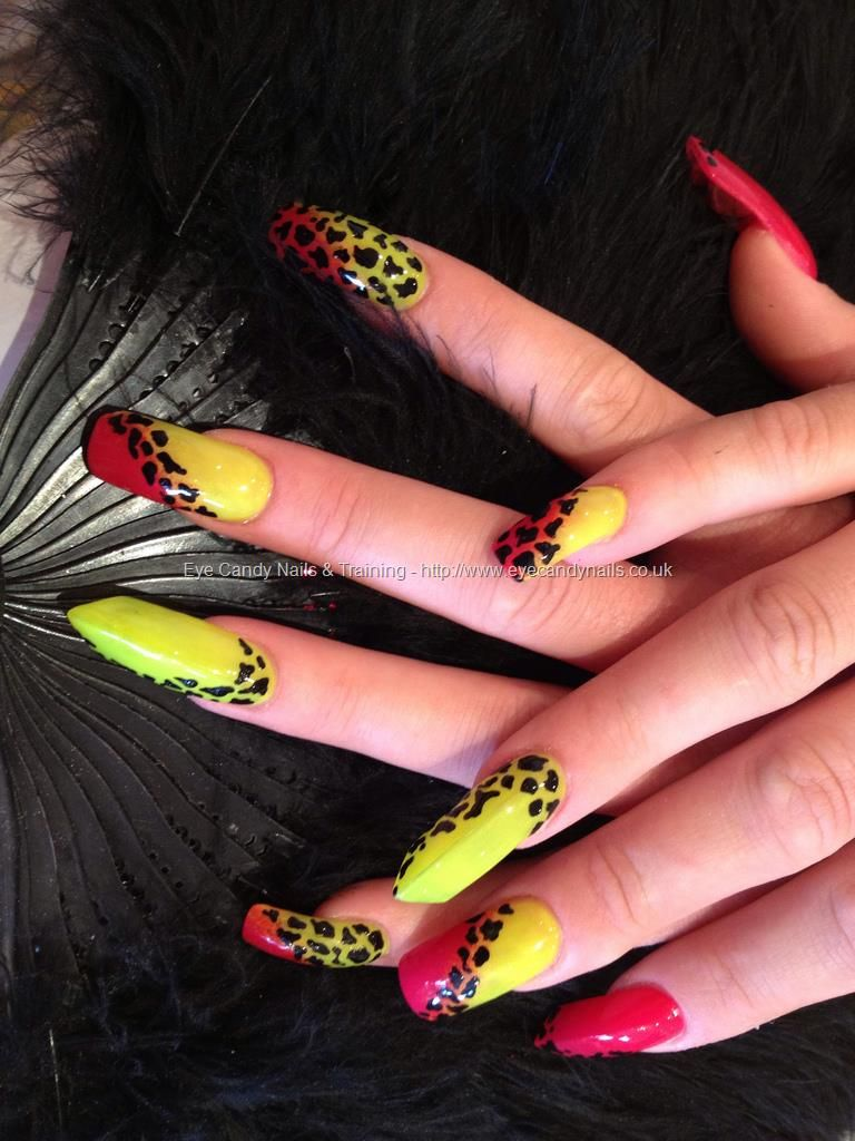 Neon yellow and pink ombré nails with black animal print freehand ...