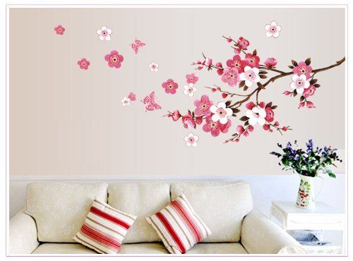 Wall Decor   Free Will Branch Of Peach Red Flowers Spring Wall Decal  Removable Wall Sticker Flower Wall Mural