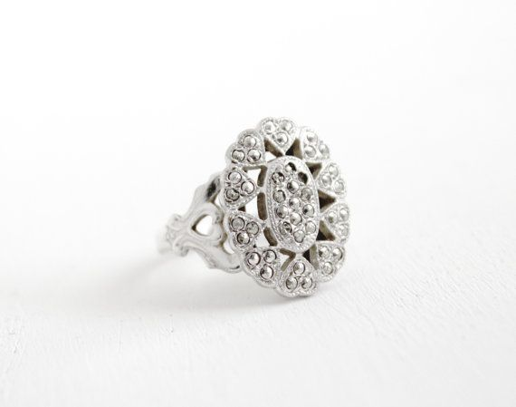 Vintage Art Deco Sterling Silver Marcasite Ring- Size 8 1/2 1930s Hallmarked Theda Flower Heart Jewelry