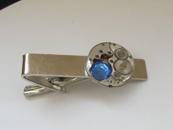 Steampunk Tie Clip with vintage watch movement and by Timewatch, $27.00