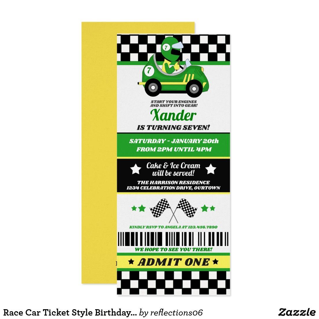 Race Car Ticket Style Birthday Party Invitation | Race car themes ...