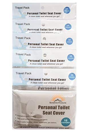 Personal Toilet Seat Cover Travel Pack Of 5 Packs 50 Count