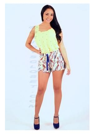Layered Front Lemon Shorts #multicolor #multiprint #shorts #Chic #spring #summer #ustrendy