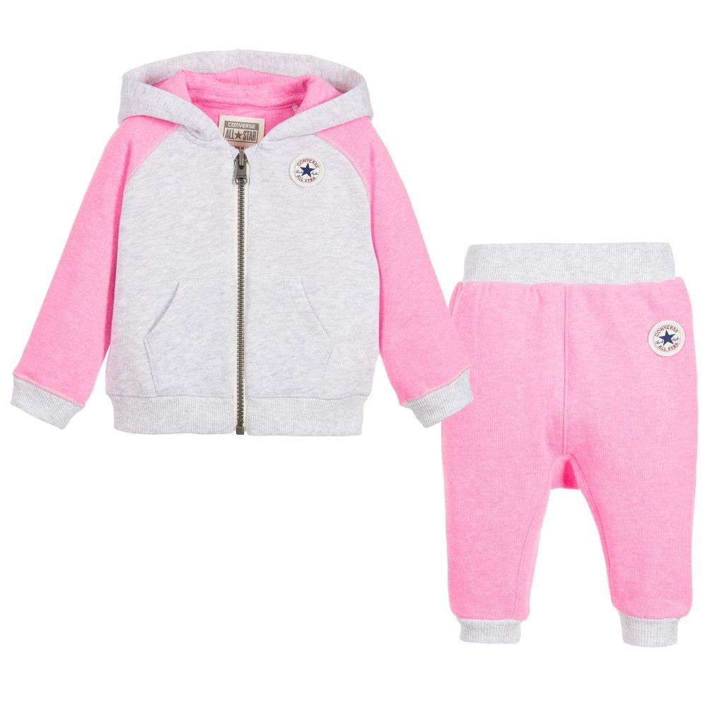 1532ac19068c Newborn Baby Girls. Converse - Baby Girls Pink   Grey Tracksuit Converse  Tracksuit
