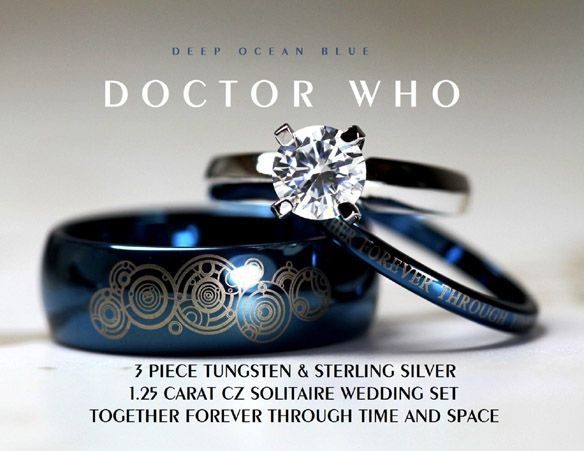 Doctor Who Together Forever Wedding Ring Set Time lords Tardis