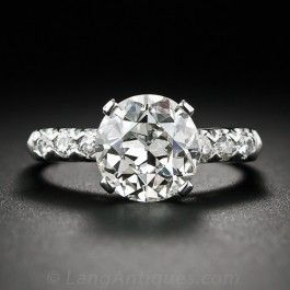 2.80 Carat European-Cut Vintage Diamond Engagement Ring in Platinum - Engagement