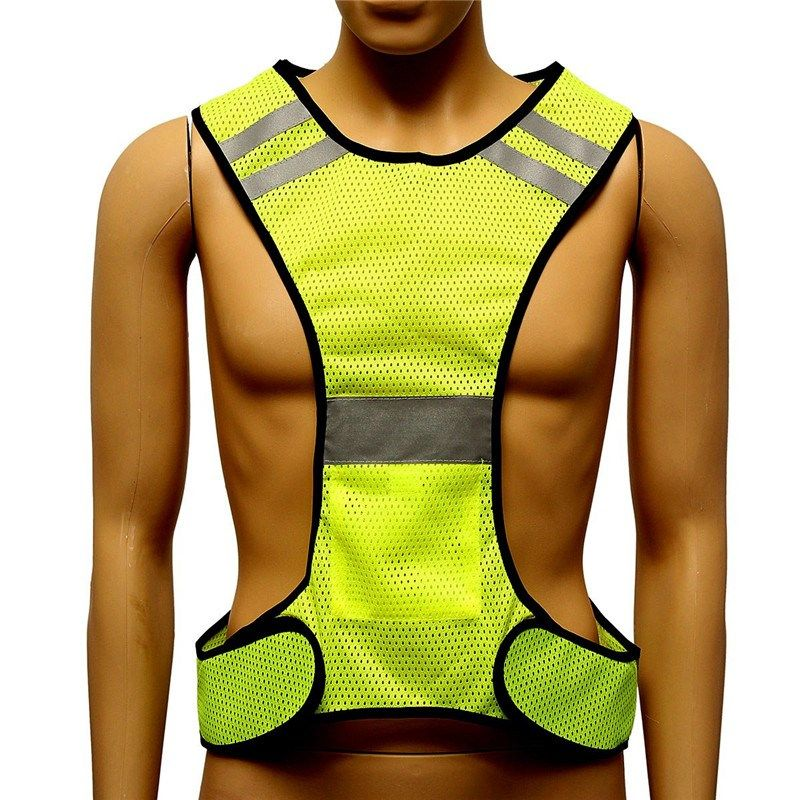 Fluorescent yellow high visibility reflective vest