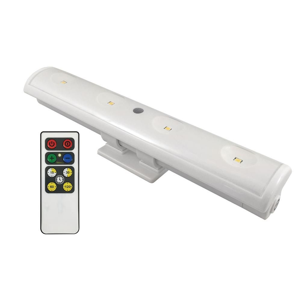 Westek 8 5 In Led White Battery Operated Swivel Led Clamp Under Cabinet Light With Remote Lw1205w N1 Under Cabinet Lighting Cabinet Lighting Battery Operated