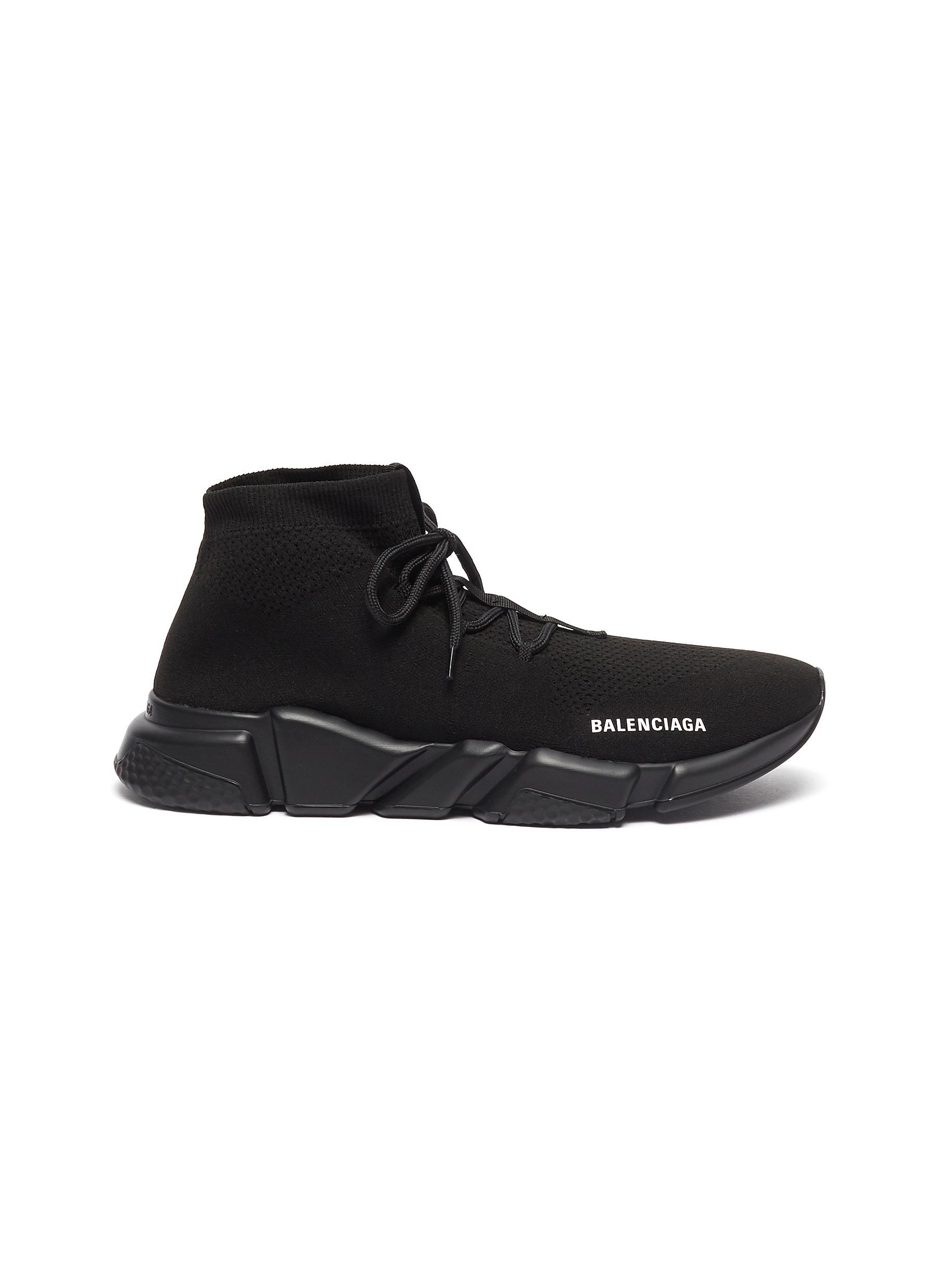 Speed Knit Lace Up Mid Top Trainers In Black Speed Laces