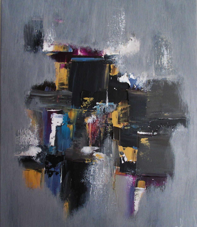Peinture moderne acrylique gris noir brun jaune violet blanc turquoise sur châssis toile coton ...