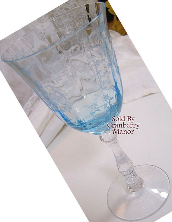 Fostoria Glass Claret Wine Glass Blue Navarre On