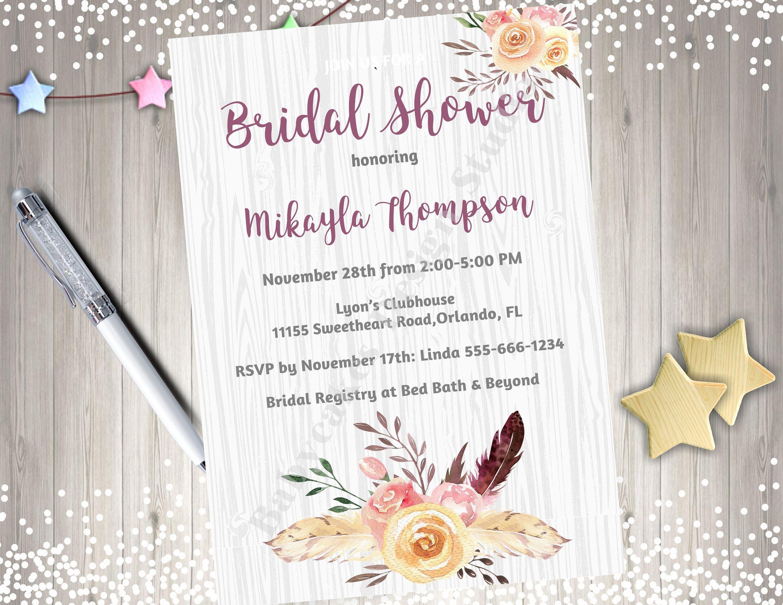 Bridal Shower Invitation Bridal Luncheon Bridal Brunch Invitation