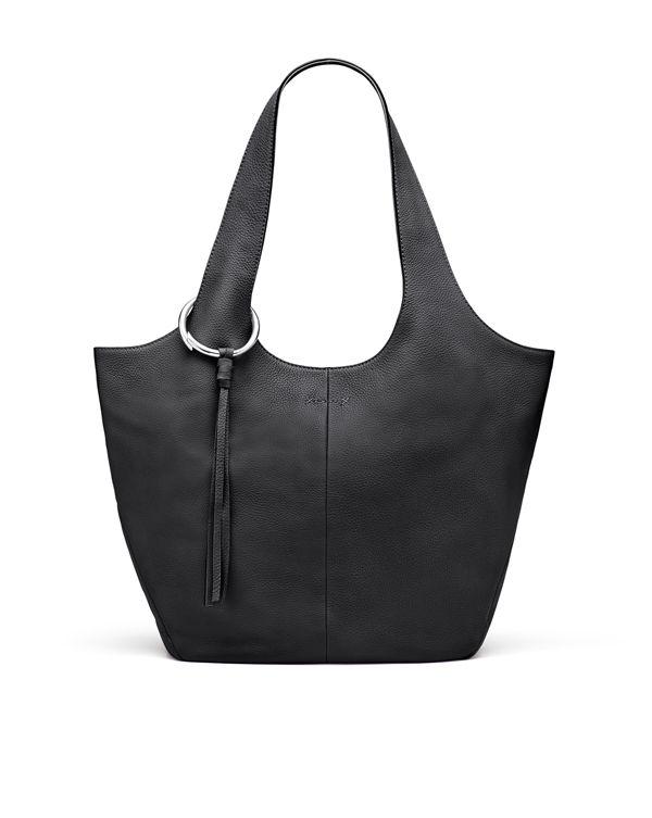 Black Pebbled Leather Finley Shopper | HANDBAG ESSENTIALS