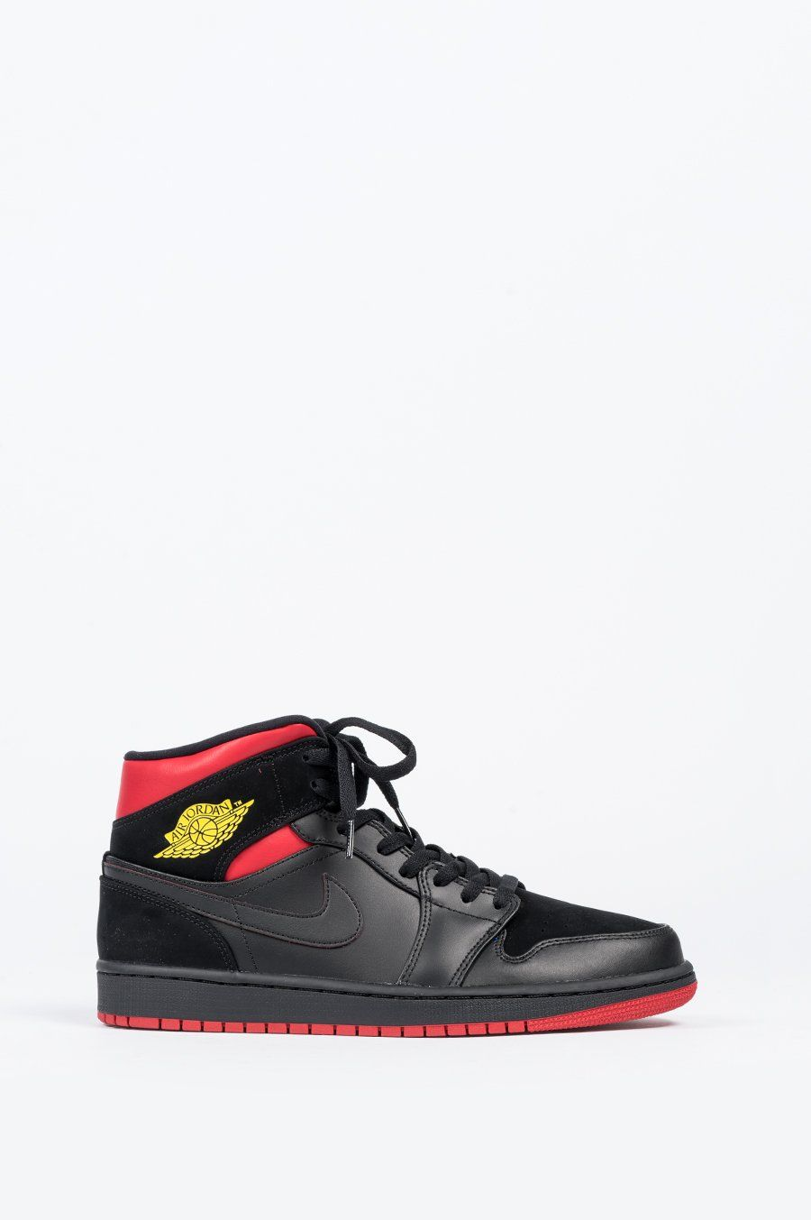 new style cf9f6 c913e NIKE AIR JORDAN 1 MID BLACK TOUR YELLOW GYM RED