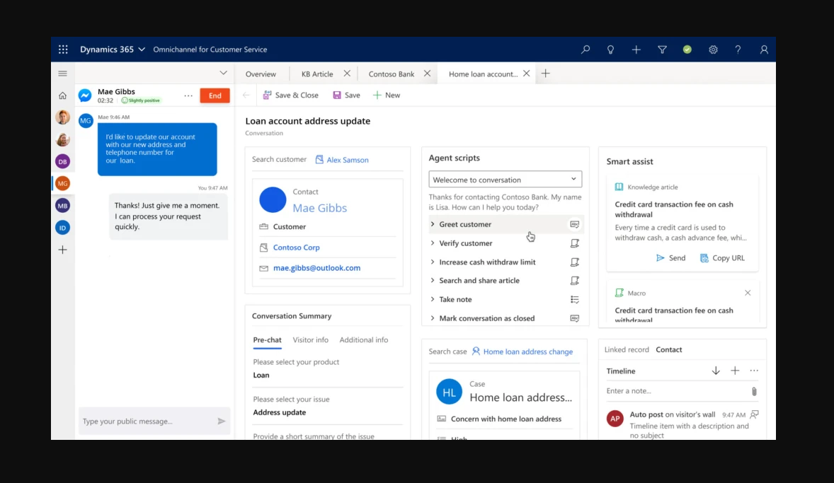 Le service client de Microsoft Dynamics 365 ajoute la