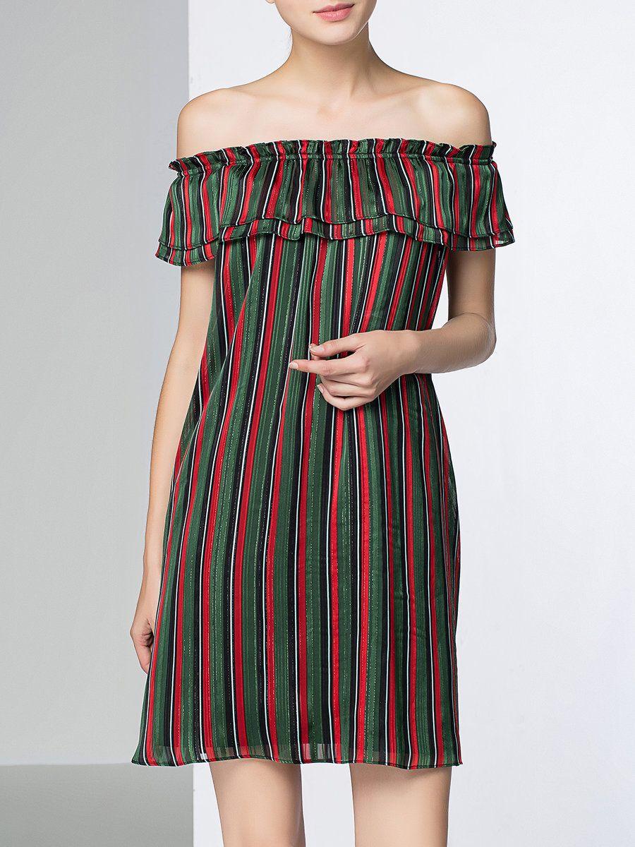 #AdoreWe #StyleWe VANNEAL Multicolor A-line Off Shoulder Casual Stripes Mini Dress - AdoreWe.com